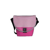 Hot Pink Chevrons Zig Zag Mini Messenger Bag at Zazzle
