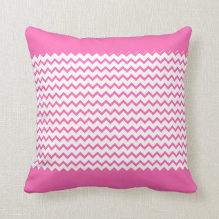 Hot Pink Chevrons Zig Zag Throw Pillow at Zazzle