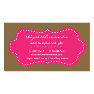 Hot Pink Chic Moderna Mommy Calling Card Double-Sided Standard Business Cards (Pack Of 100)