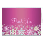 Hot Pink Chic Snowflake Thank You Card