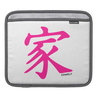 Hot Pink Chinese Family symbol Sleeve For iPads