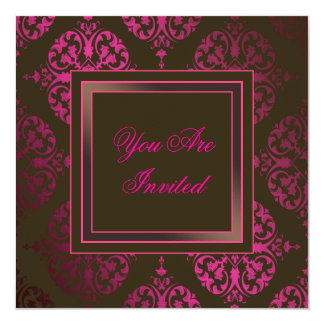 Hot Pink Chocolate Brown & Pink Party Invitation