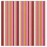 [ Thumbnail: Hot Pink, Chocolate, Mint Cream & Maroon Lines Fabric ]