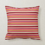 [ Thumbnail: Hot Pink, Chocolate, Mint Cream & Maroon Lines Throw Pillow ]