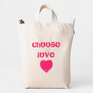 Hot Pink 'Choose Love' and Heart Duck Bag