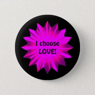Hot pink choose love pinback button