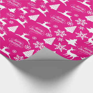 Hot Pink Christmas Holiday Wrapping Paper
