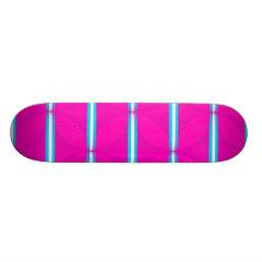 Hot Pink Circle Polka Dots Diamond Teal Stripes Custom Skate Board