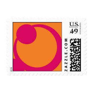 Hot Pink circles on Orange background Postage