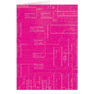 Hot Pink Circuit Board Cyber Industrial EBM Techno Card