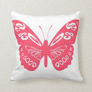 Hot Pink Classic Butterfly Lace Wings Logo Pillow