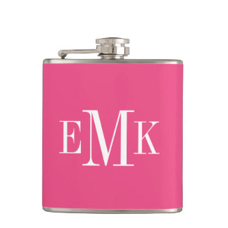 Hot Pink Classic Monogram Flask