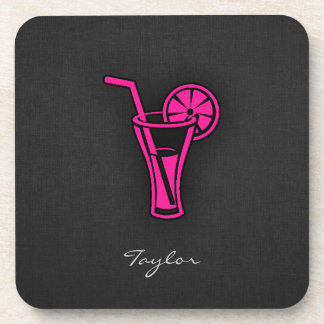 Hot Pink Cocktail Drink Coaster