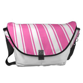 Hot pink Color Stripe Funky Pattern Courier Bag