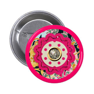 HOT PINK COLORFUL CIRCLE COLLAGE CRAFTS SILVER SPA 2 INCH ROUND BUTTON