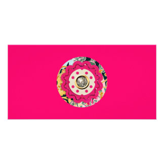 HOT PINK COLORFUL CIRCLE COLLAGE CRAFTS SILVER SPA CARD