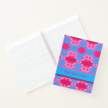 Beach Themed Hot Pink Cool Blue Abstract Notebook