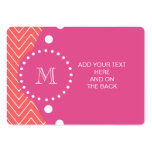 Hot Pink, Coral Chevron   Your Monogram Business Card