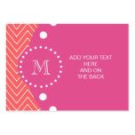 Hot Pink, Coral Chevron   Your Monogram Business Card Templates