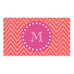 Hot Pink, Coral Chevron   Your Monogram Business Card Template