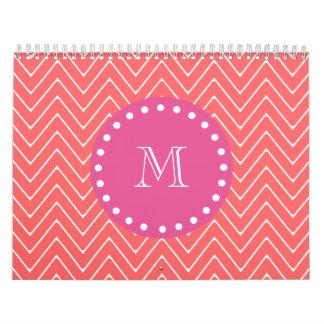 Hot Pink, Coral Chevron | Your Monogram Calendar