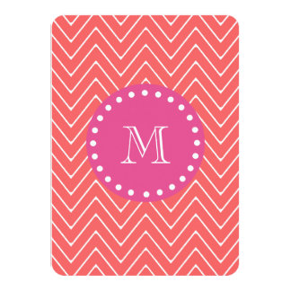 "Hot Pink, Coral Chevron | Your Monogram 4.5"" X 6.25"" Invitation Card"