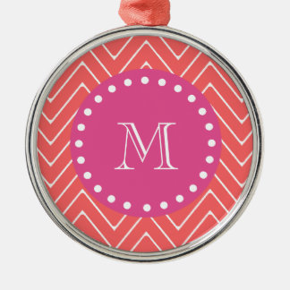 Hot Pink, Coral Chevron | Your Monogram Christmas Tree Ornament