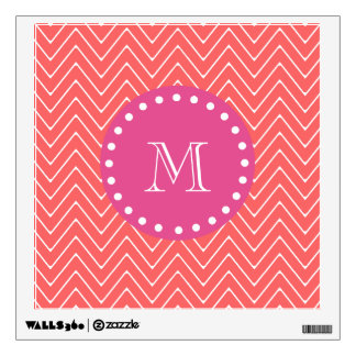 Hot Pink, Coral Chevron | Your Monogram Wall Sticker