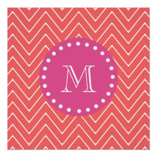 Hot Pink, Coral Chevron | Your Monogram Perfect Poster