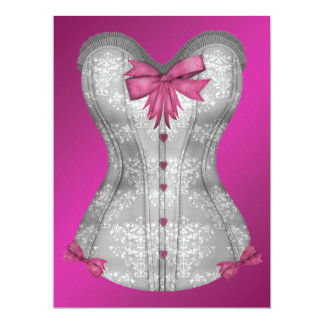 Hot Pink Corset Bachelorette Party 6.5x8.75 Paper Invitation Card