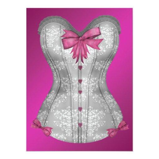 Hot Pink Corset Bachelorette Party Card