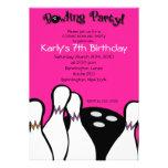 HOT PINK Cosmic Bowling Birthday Invitation 5x7