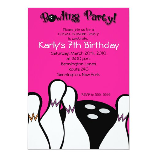 HOT PINK Cosmic Bowling Birthday Invitation 5x7
