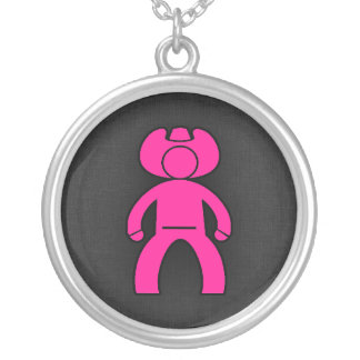 Hot Pink Cowboy; Cowgirl Silver Plated Necklace