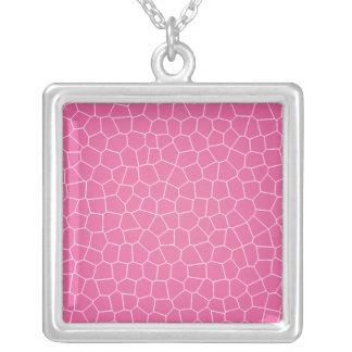 Hot Pink Crackle Square Pendant Necklace