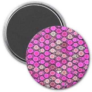 Hot Pink Cream Polka-dot Magnet