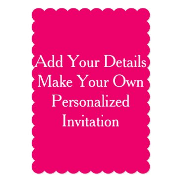 Beach Themed Hot Pink Create Your Own Blank Invites Colorful