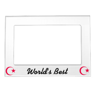 Hot Pink  Crescent & Star.png Magnetic Photo Frame