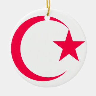 Hot Pink  Crescent & Star.png Christmas Tree Ornament