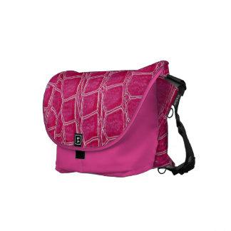 Hot Pink Croc Crocodile Skin Leather Messenger Bag