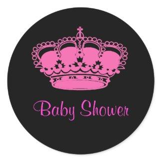 Hot Pink Crown Princess Baby Shower Stickers sticker