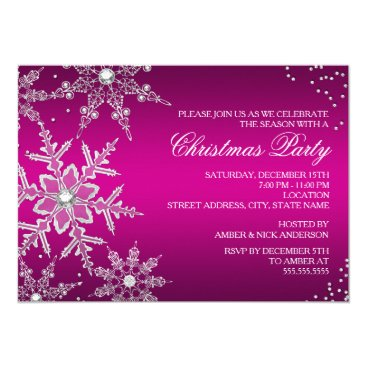 Christmas Themed Hot Pink Crystal Snowflake Christmas Dinner Party Card