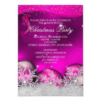 Hot Pink Crystal Snowflake Christmas Party Card