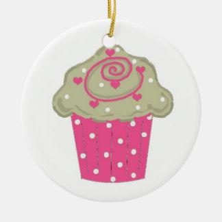 Hot Pink Cupcake Ceramic Ornament