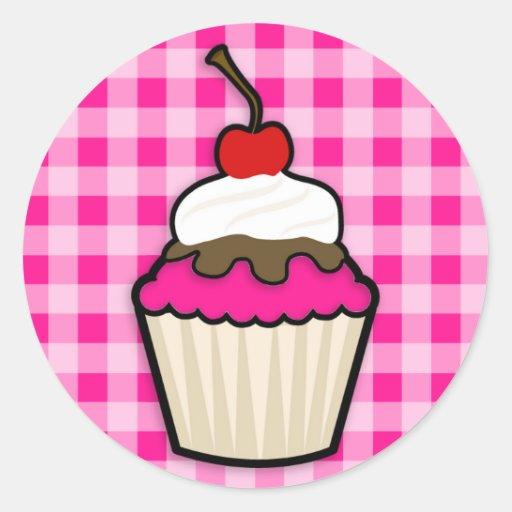 Hot Pink Cupcake Round Sticker