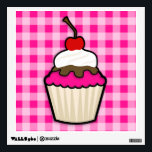 """Hot Pink Cupcake Wall Decal<br><div class=""""desc"""">Cute,  cartoon cupcake with  Hot Pink  icing.  You will love this adorable cupcake with whipped cream and cherry on top!  Great gift for anyone from girls that love cupcakes to a bakery owner! Images used on this item are licensed and &#169; Graphics Factory.com</div>"""