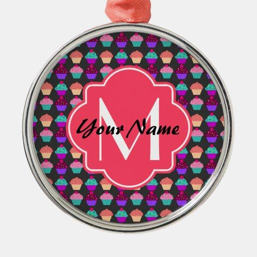 Hot pink cupcakes personalized name monogram round metal