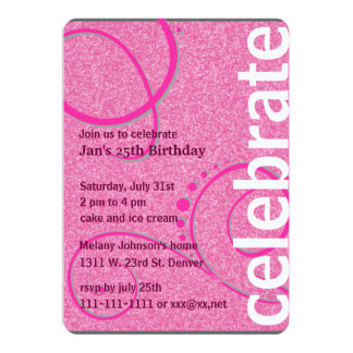 Hot Pink Curling Decorations and Glitter Card