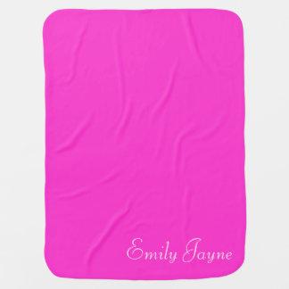 Hot pink custom girls name blanket for baby girl baby blankets