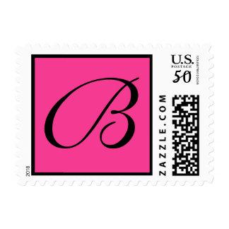 Hot Pink Custom Postage Stamp w/ Monogram Initial